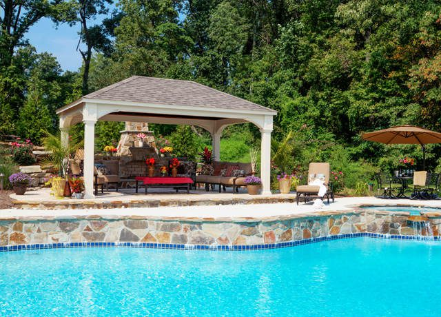 Custom vinyl pavilion with stone work swimming pool in arizona