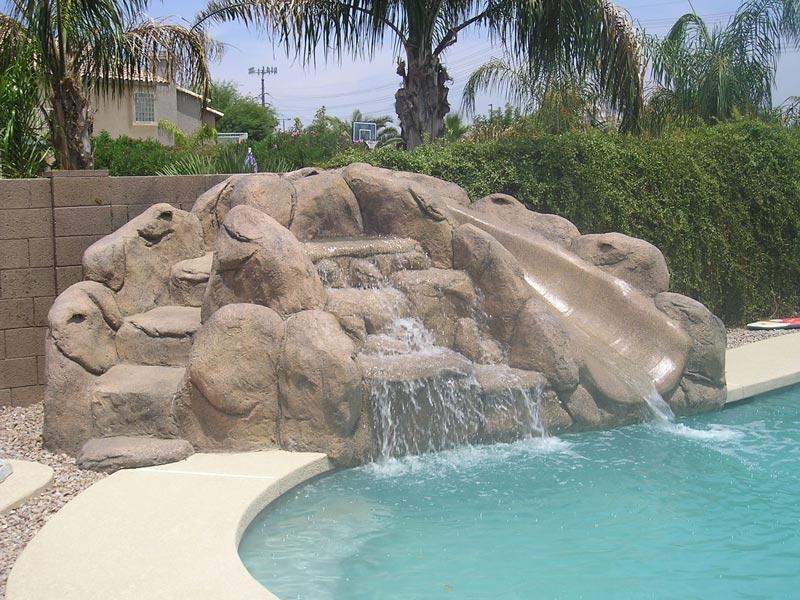 Rock Style slide for swimming pool in arizona