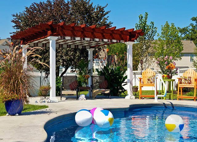 Swimming Pool with a vinyl pergola