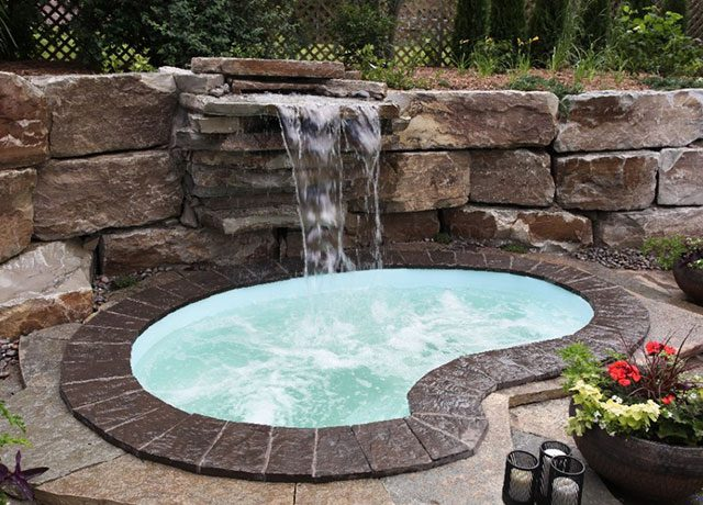 Custom Hot Tub with a Waterfall Feature