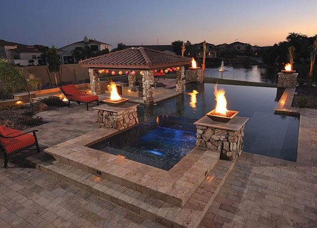 Custom Geometric Swimming Pool with Fire Features