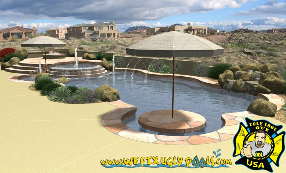 Swimming Pool with several features including a water fountain