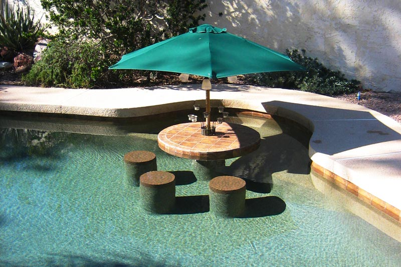 Custom tables for swimming pools