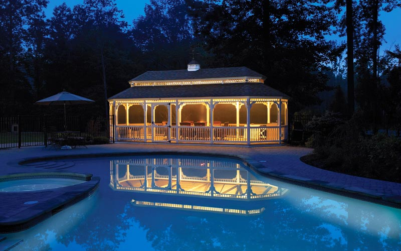 Large event gazebo with a custom swimming pool
