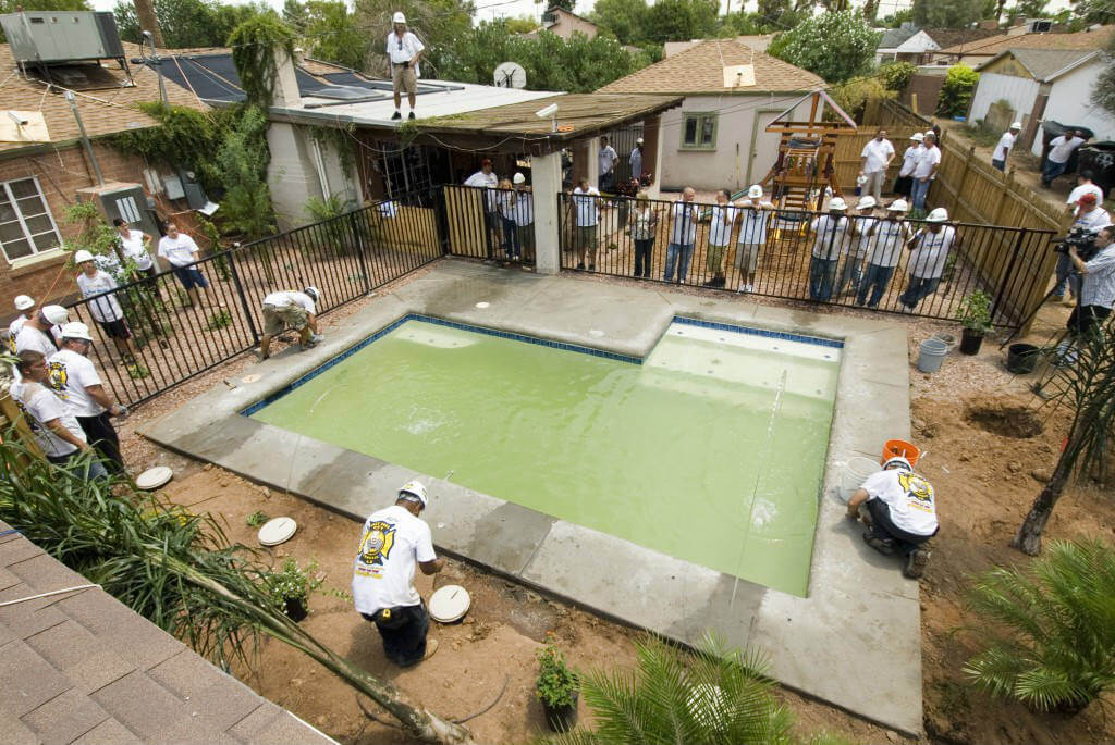 finalizing water treatment in swimming pool