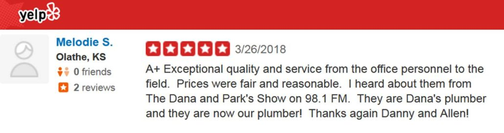 yelp review plumbing from melodie s