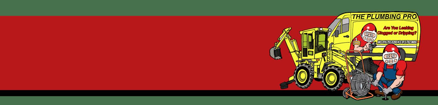 Red Background with Plumbing Pro van and excavator