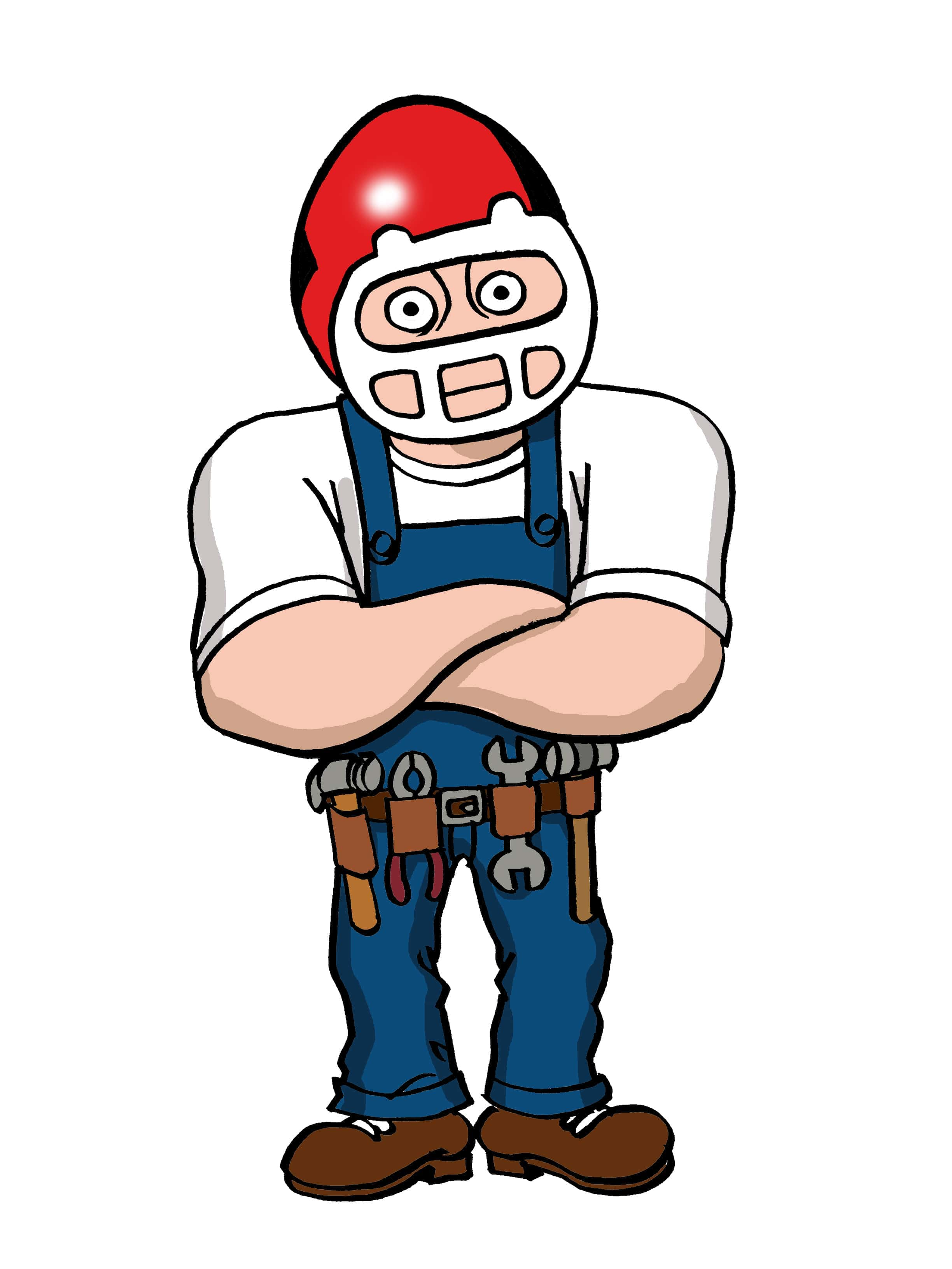 The Plumbing Pro in a white t-shirt