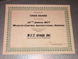 2019 WCT Seminar Certificate for Chad Soard Trifecta Wildlife
