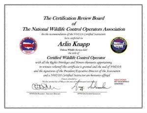 Arlin Knapp Certified Wildlife Control Operator Certificate NWCOA