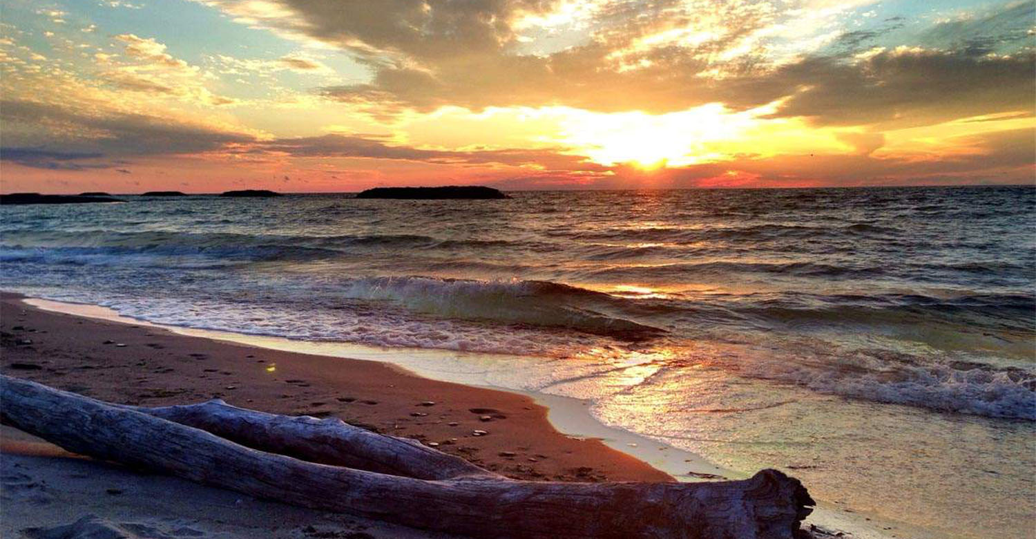 A sunset on Lake Erie from Presque Isle State park