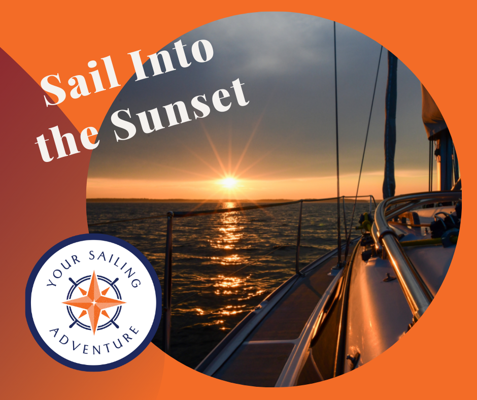 Picture of a Sailboat sailing into a sunset over the water