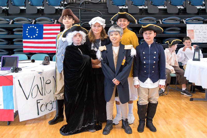 Grade 5 students dressed in costume as Washington's group at Valley Forge