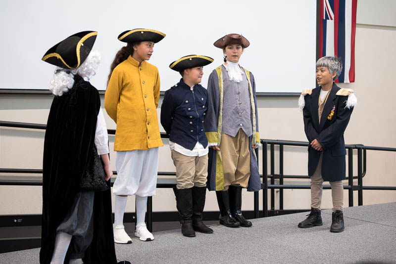 Grade 5 students re-enact a scence from Valley Forge