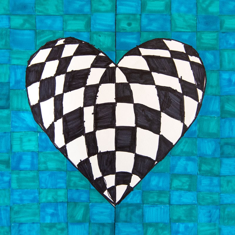 Checkered heart on checkered background