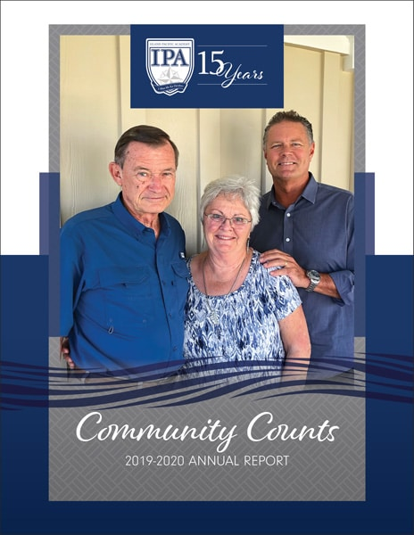 Cover of the 2019-2020 Annual Report showing the three school founders
