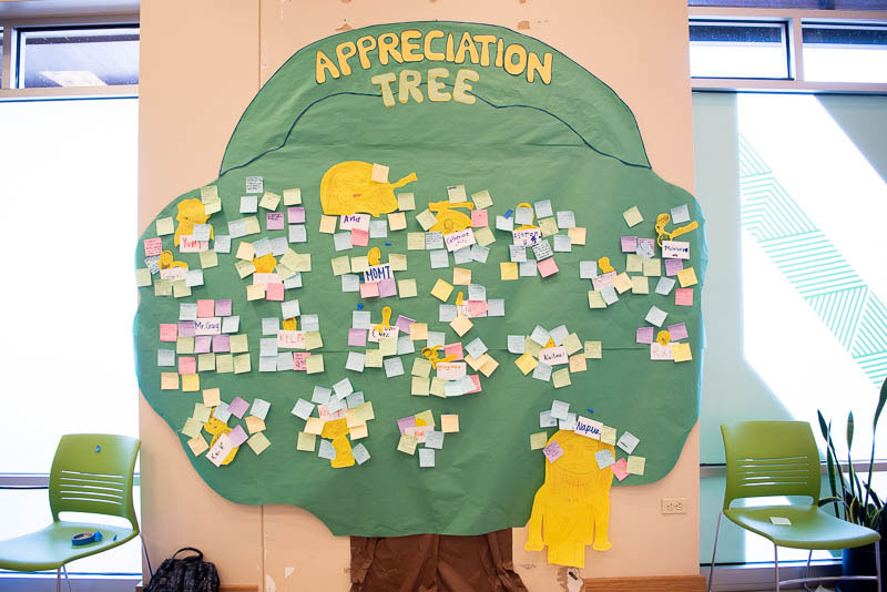 Student Appreciation Tree on the wall.