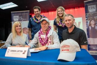 Swimmer signing national letter of intent