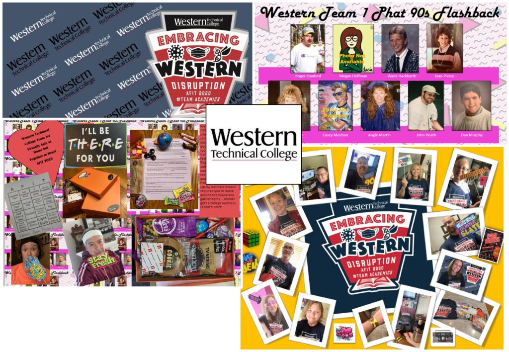 """Collage showing Western Technical College's team pride and how they brought the learning theme """"embracing disruption"""" to life at AFIT's 2020 Virtual Summer Institute."""