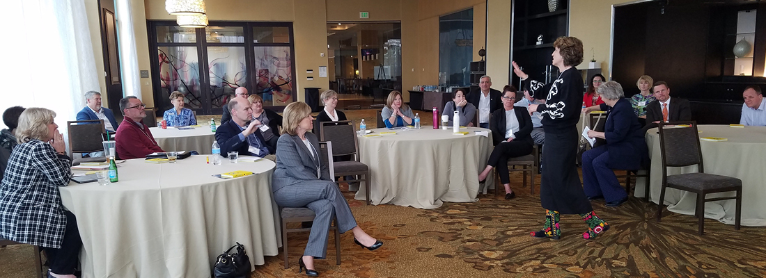 Photo of AFIT CEOs attending an in-person CEO Networking Session facilitated by CampusWorks CEO Liz Murphy.