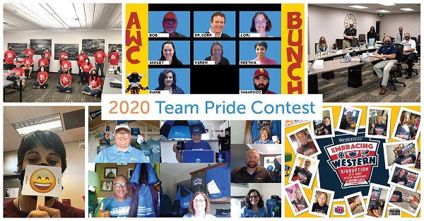 Photo collage showing team entries for the 2020 Team Pride Contest.