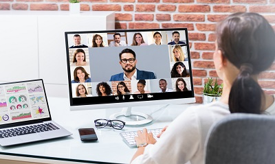 Online Video Conference Call. Remote Webinar Meeting