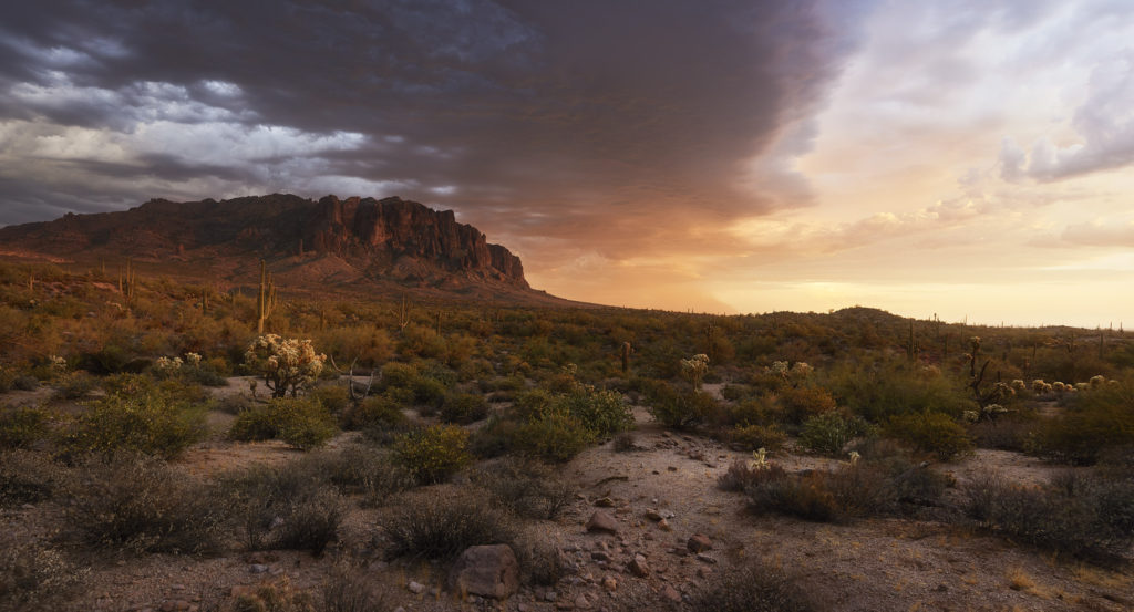 A monsoon storm approaches Superstition Mountain in Apache Junction, Arizona