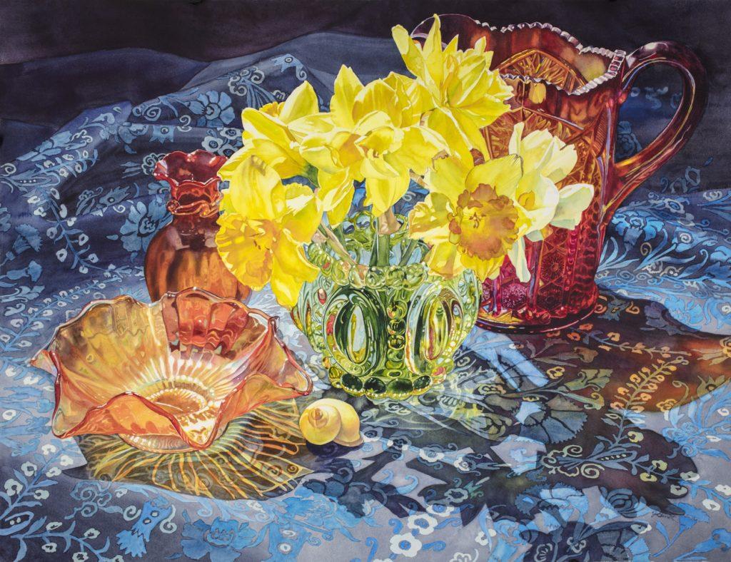 Carnival Glass  with Daffodils - Janice Garrett