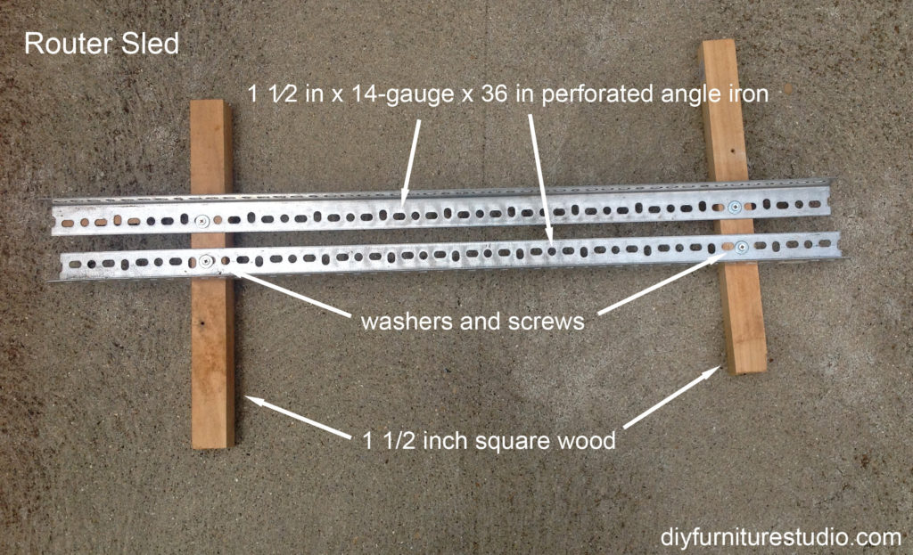 angle iron router sled for flattening wood tree stump slice