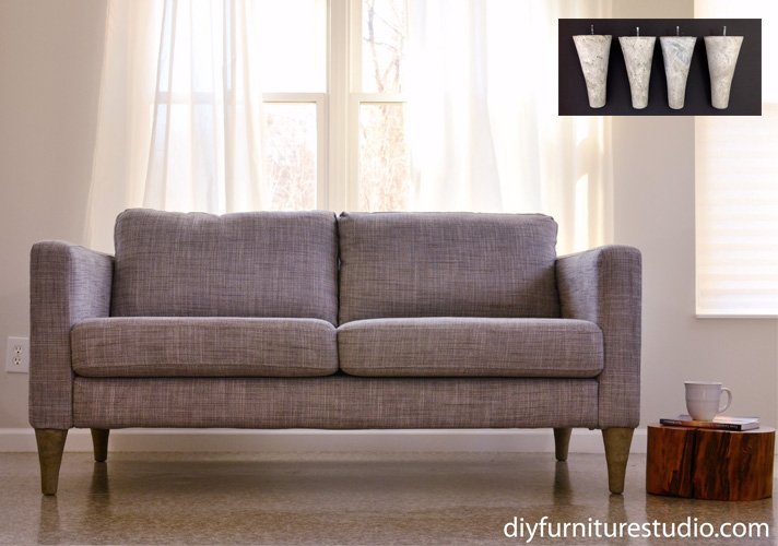 ikea hack for karlstad and other sofas diy replacement feet
