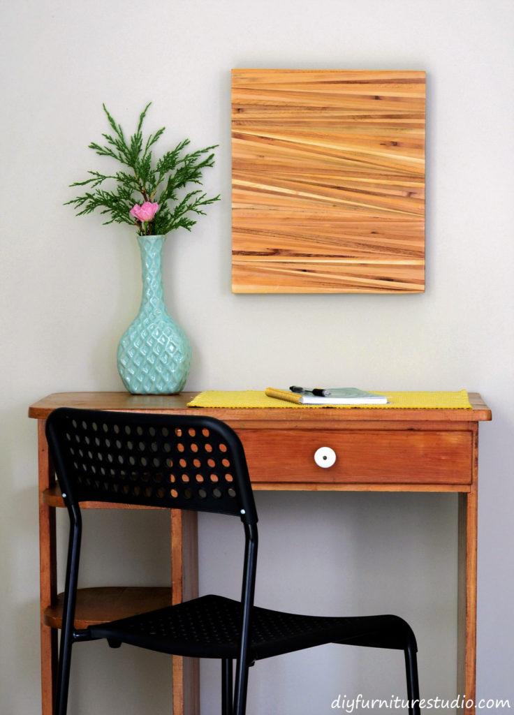 DIY wood shim wall art.