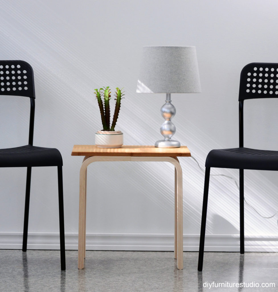 Easy IKEA Hack DIY side table made with frosta stool and aptitlig chopping board