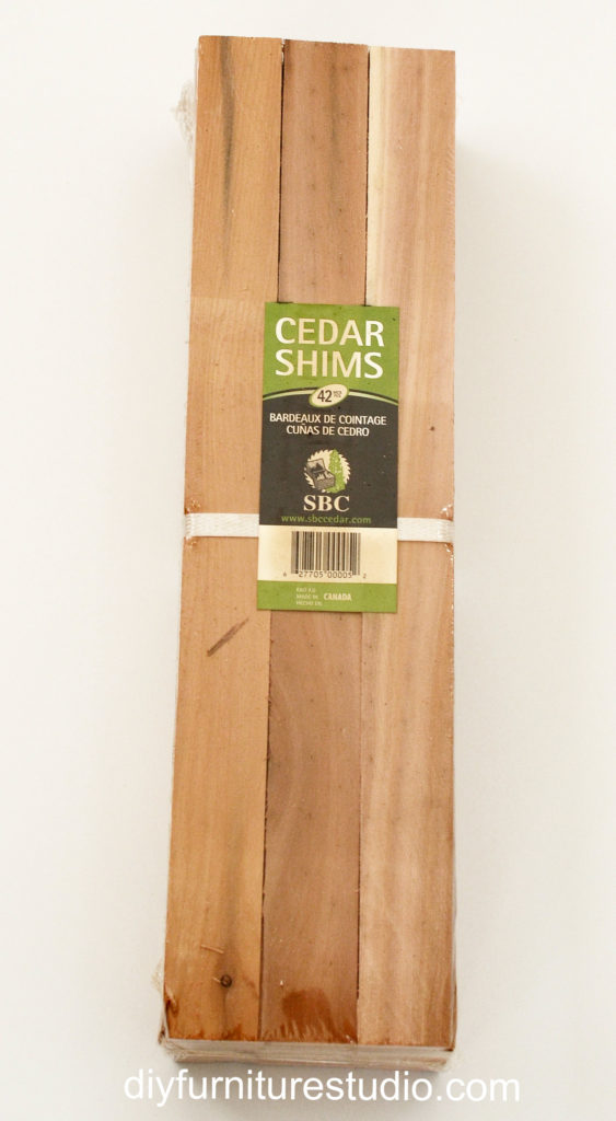 Wood shim package for wall art.