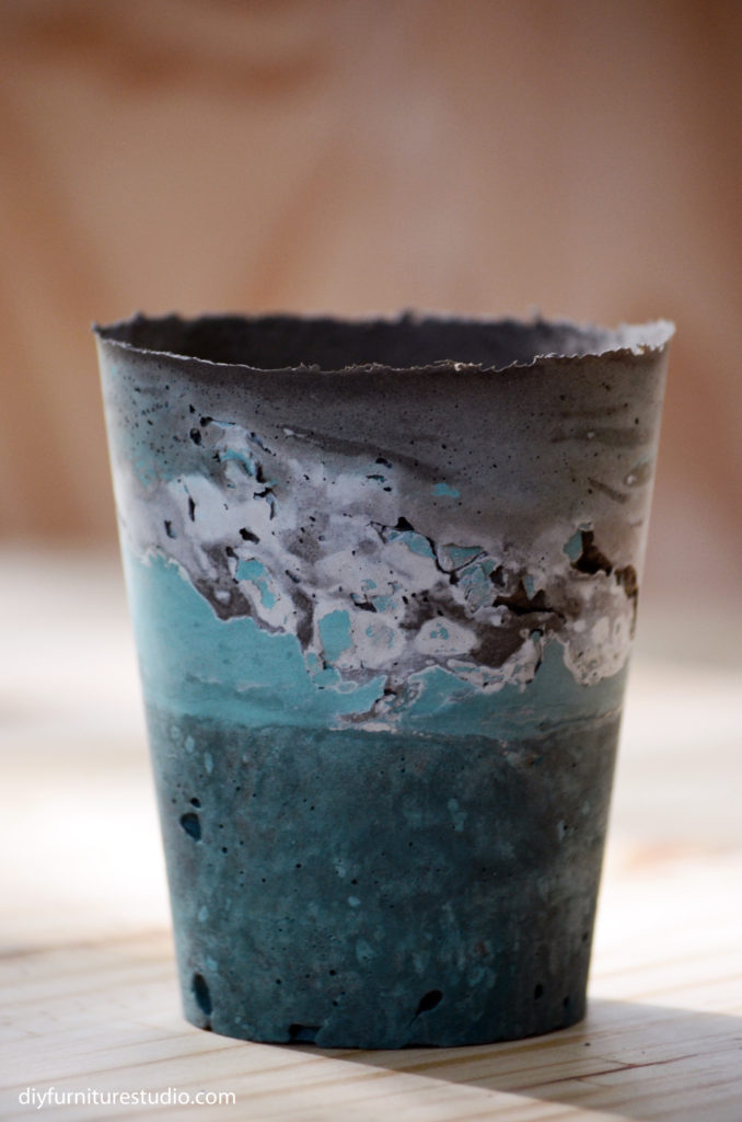 DIY cement vase tinted teal with latex paint integral colorant.