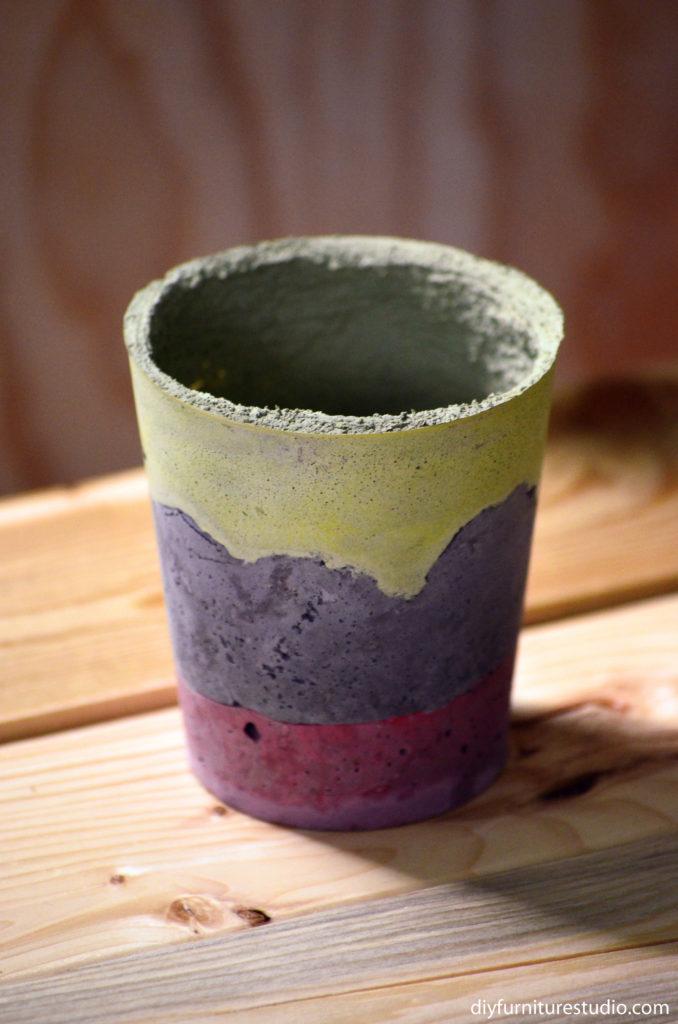 DIY paint-tinted cement pot