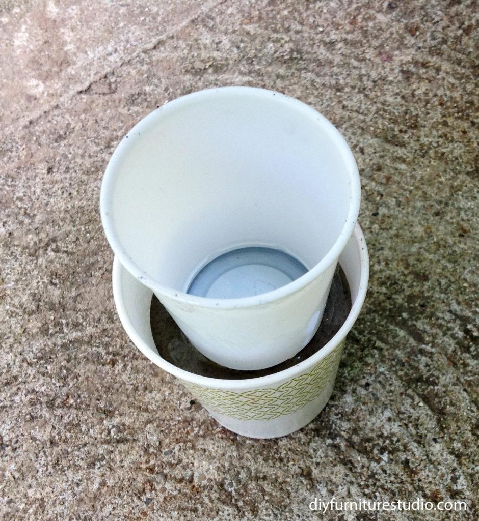 make paint tinted cement pots, planters, vases