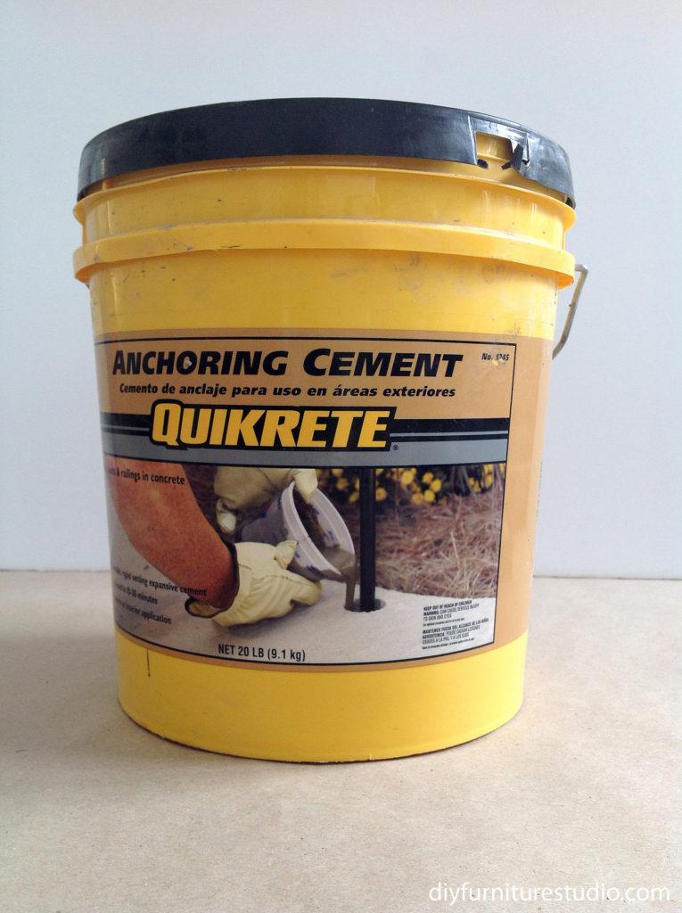 Quikcrete anchoring cement for DIY cement decor