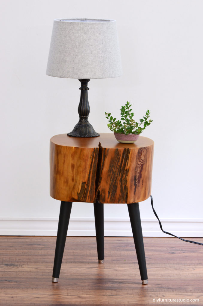 DIY live edge side table with three DIY furniture leg options.