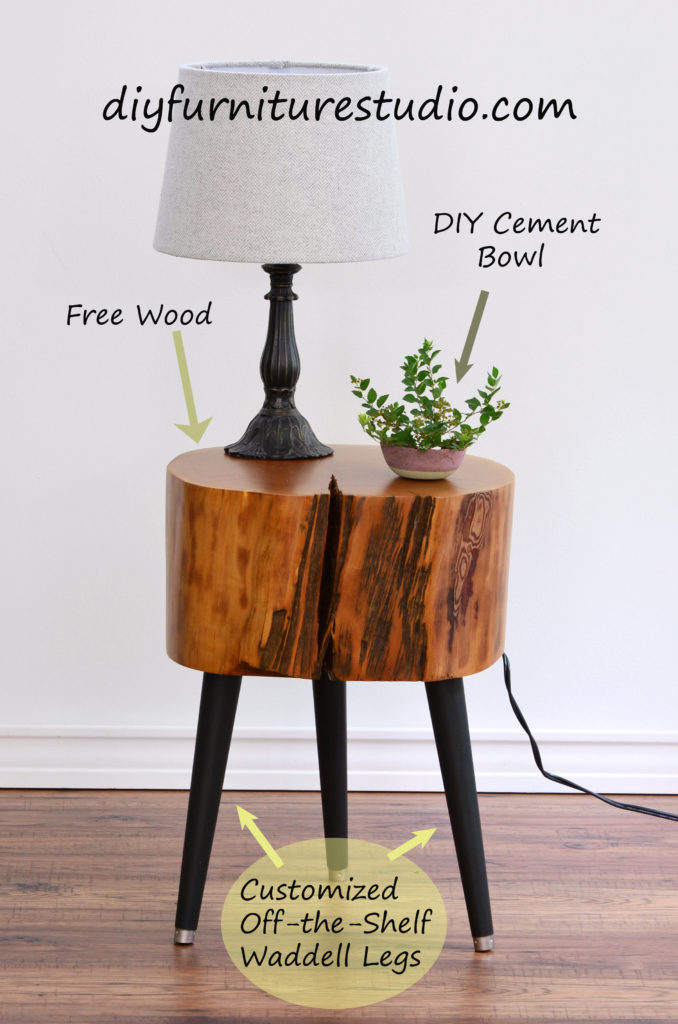 DIY furniture and decor tutorials, DIY live edge side table with customized Waddell brand mid-century modern legs.