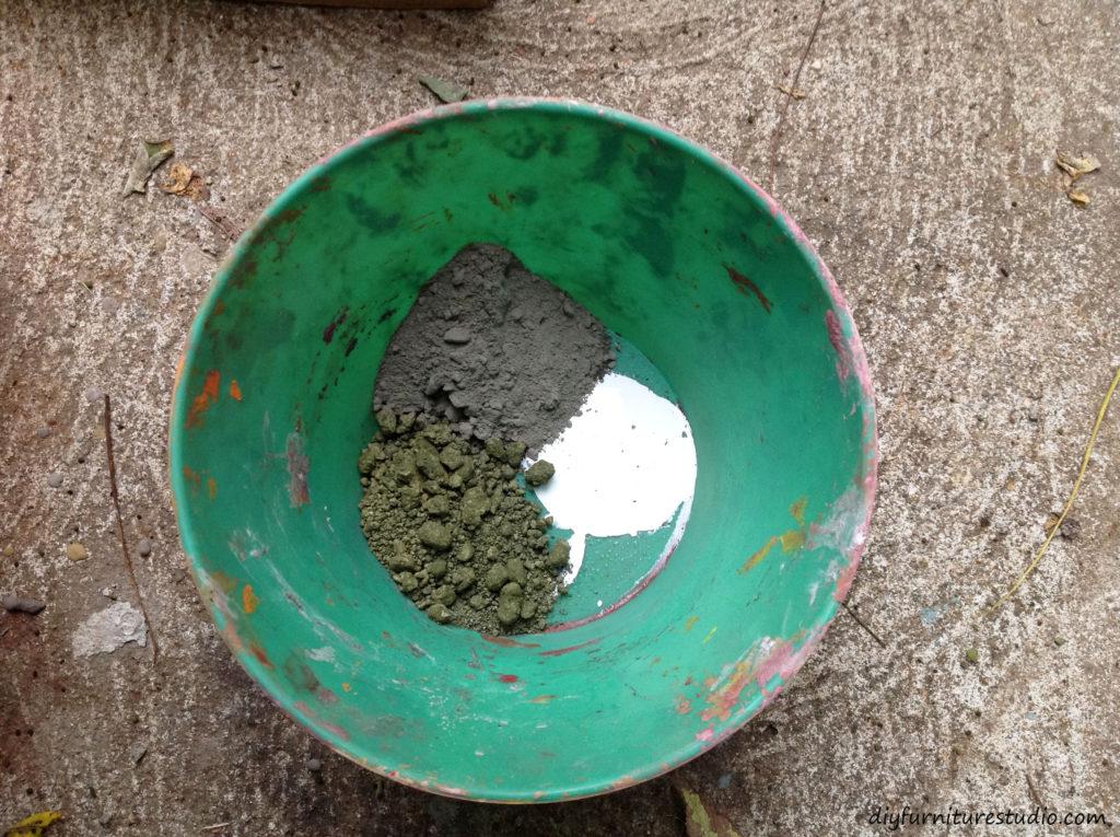 Mixing DIY cement.