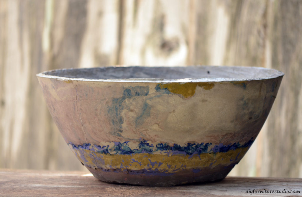 DIY cement bowl. A gift to my dear sister, Lorraine.