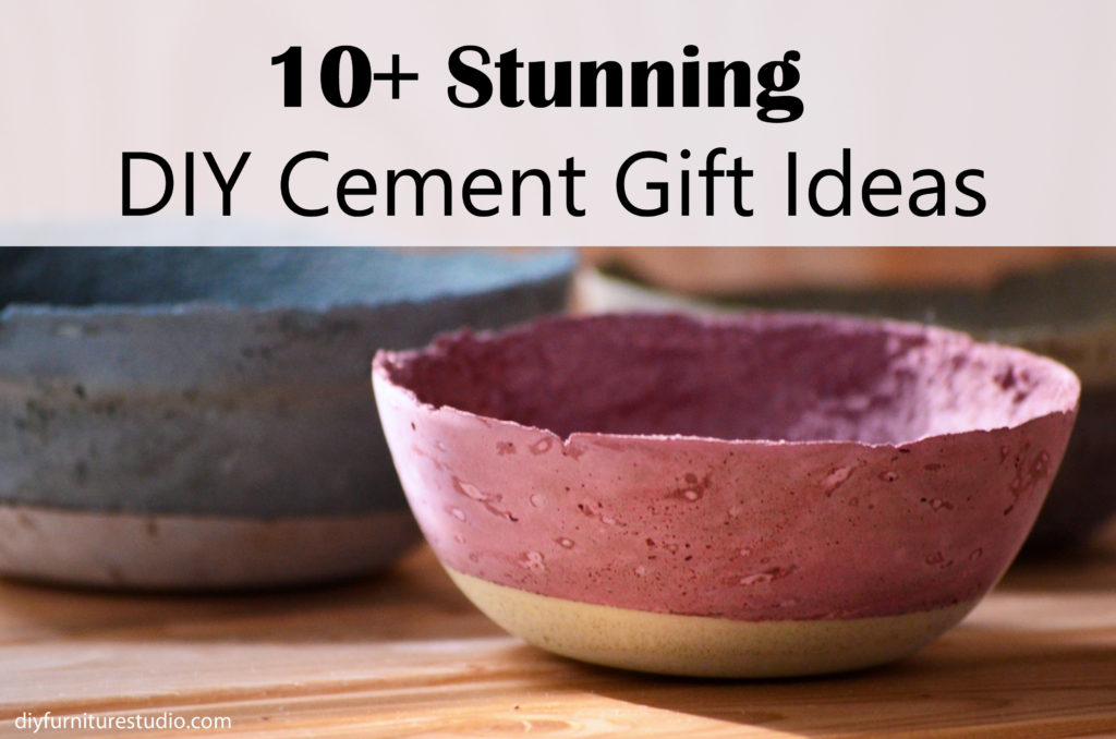 Stunning DIY concrete and cement gift ideas including planters, bowls, vases, ring cones, wall art, serving platter, sofa legs, and candle holders. Tutorials.