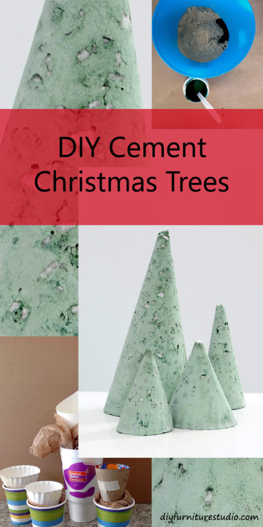 Easy DIY Christmas Decor. Cement Christmas trees, minimalist modern style. Colored with green latex paint. Tutorial.