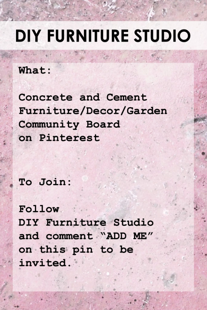 DIY Furniture Studio Concrete and Cement Furniture/Decor/Garden Community Board.