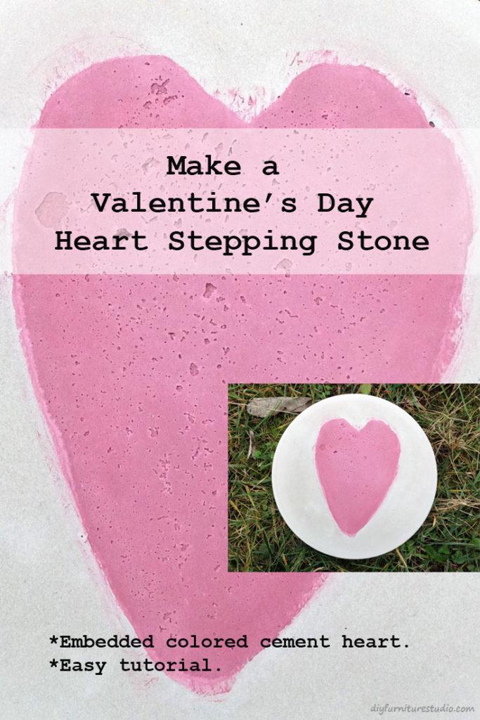 DIY Valentine's Day Gift. Cement Heart Stepping Stone Garden Art.