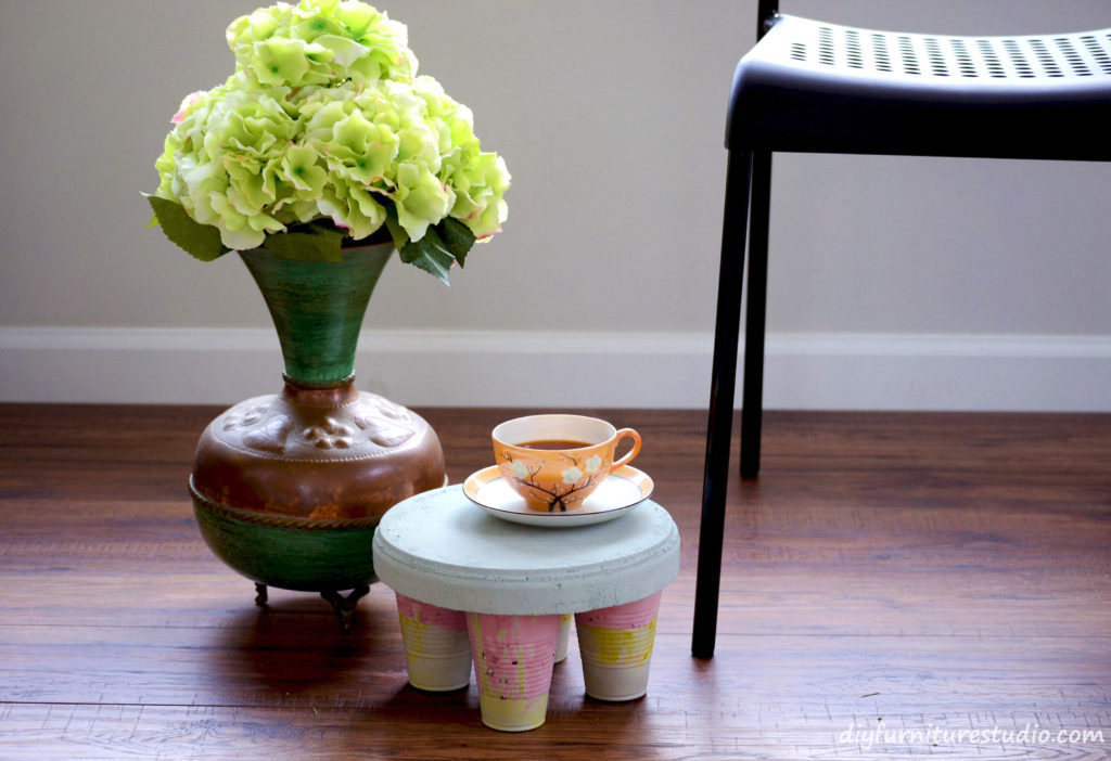 DIY Cement Low Table or Plant Stand with Chunky Legs.
