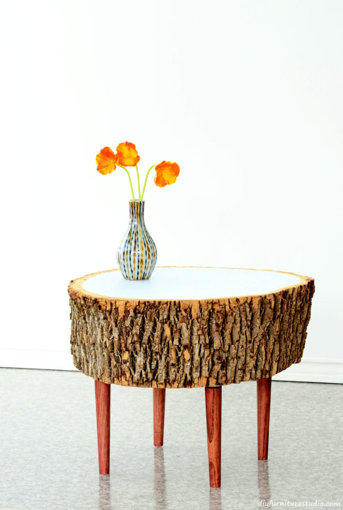 DIY Live Edge Stump Coffee Table with Bark and Painted Top.