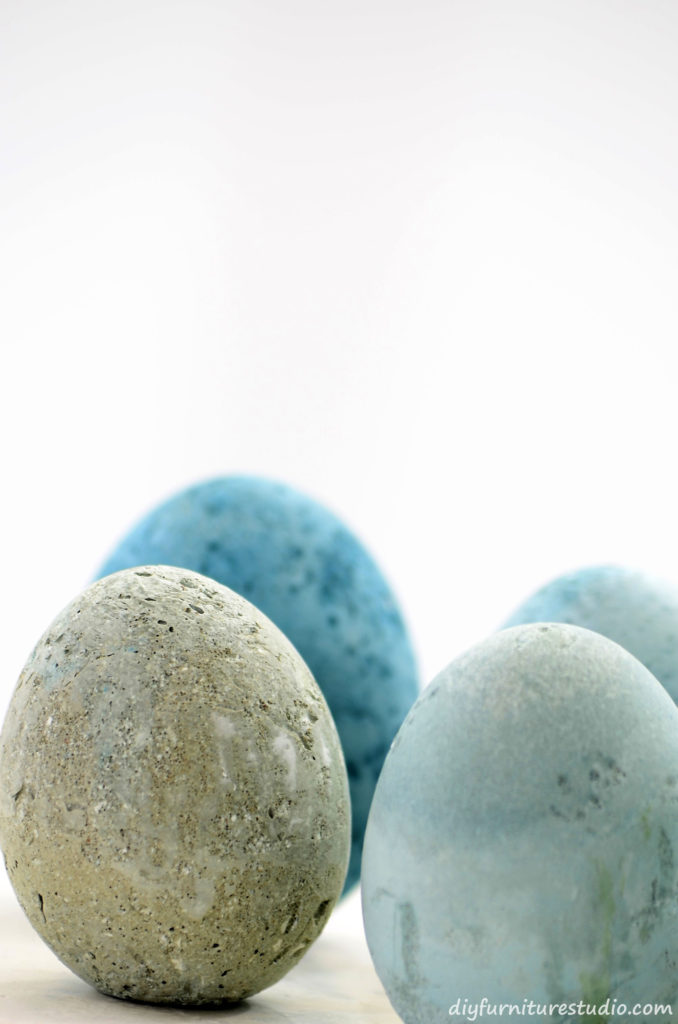 DIY Cement Easter Eggs Colored with Latex Paint.