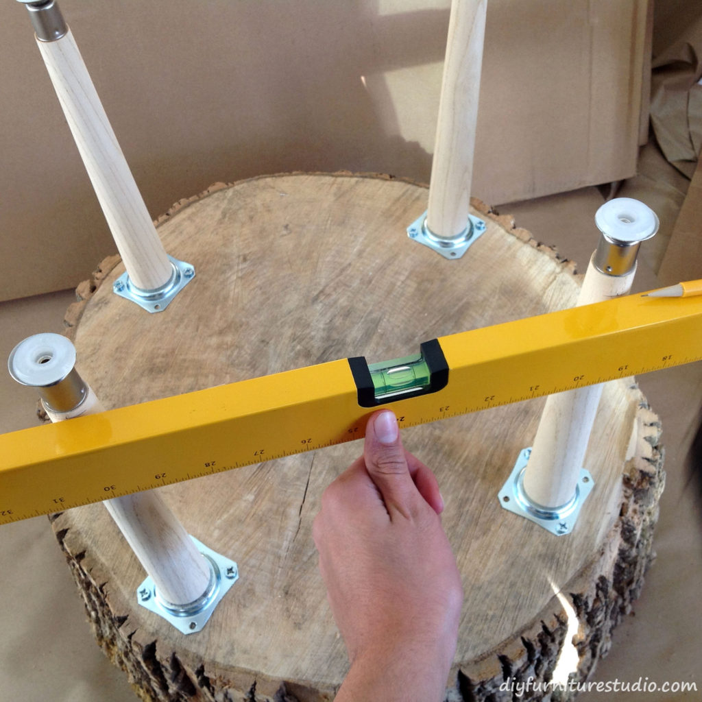 Leveling Legs on a DIY Coffee Table.