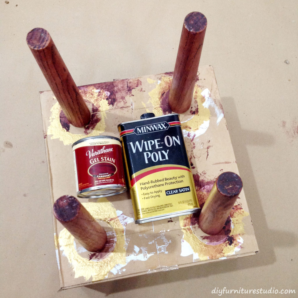 Staining Waddell Brand Mid-Century Modern Style Table Legs.